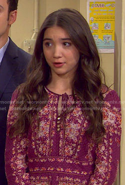 Riley's purple floral long sleeve dress on Girl Meets World