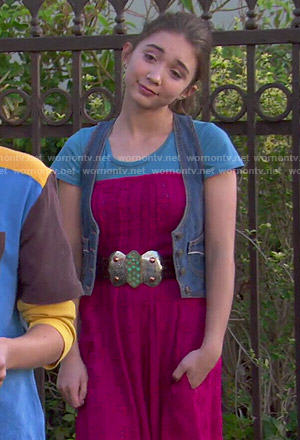 Riley's red strapless jumpsuit, blue tee and denim vest on Girl Meets World