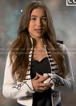 Riley's white jacket with black embroidery on Girl Meets World