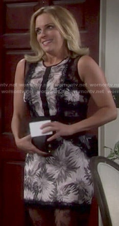 Sage's floral dress with black lace panels on The Young and the Restless