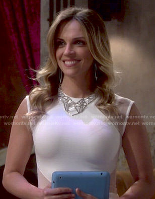 Sage's white mesh inset dress on The Young and the Restless