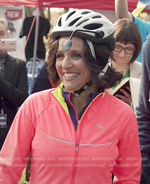 Selina's neon athletic jacket on Veep