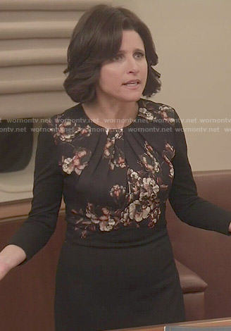 Selina's black long sleeved dress with floral panel on Veep