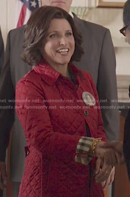 Selina's red quilted jacket on Veep