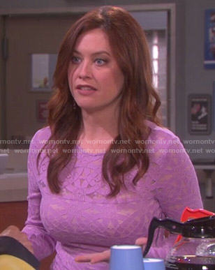 Serena's purple long sleeved lace dress on Days of Our Lives