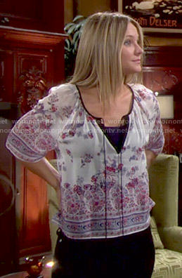 Sharon's printed peasant top on The Young and the Restless