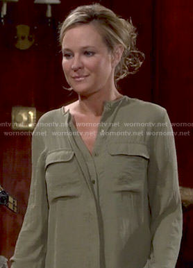Sharon's khaki green blouse on The Young and the Restless