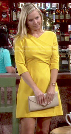 Sharon's yellow cross front dress on The Young and the Restless