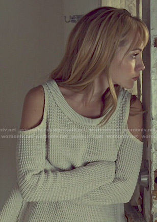 Shay's white textured cold-shoulder sweater on Orphan Black