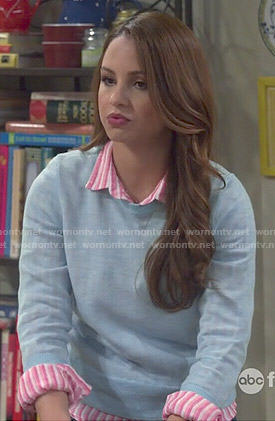 Sofia's pink striped shirt and blue sweater on Young and Hungry