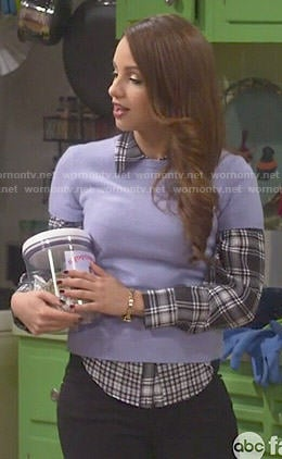 Sofia's mixed plaid shirt and purple short sleeve sweater on Young and Hungry