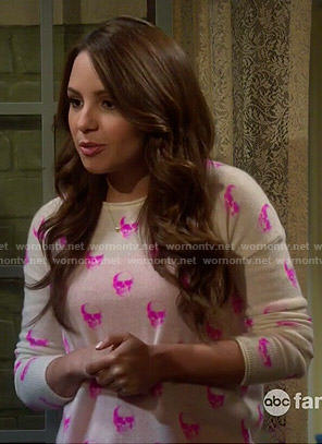 Sofia's pink skull sweater on Young and Hungry