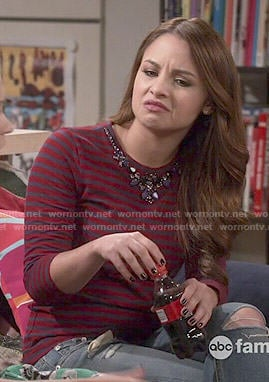 Sofia's red striped and embellished top on Young and Hungry
