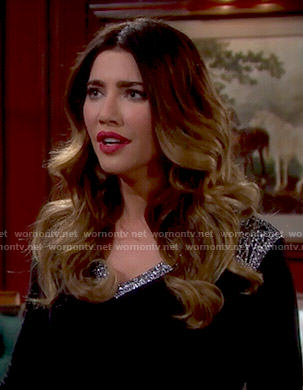 Steffy's black embellished v-neck top on The Bold and the Beautiful