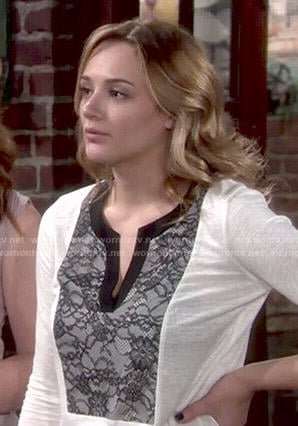 Summer's white lace front top on The Young and the Restless