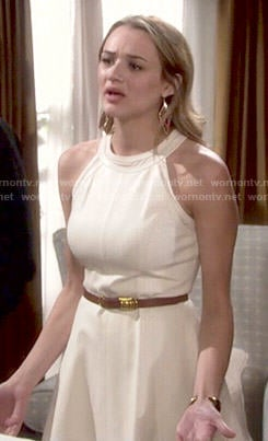 Summer's off-white perforated dress on The Young and the Restless