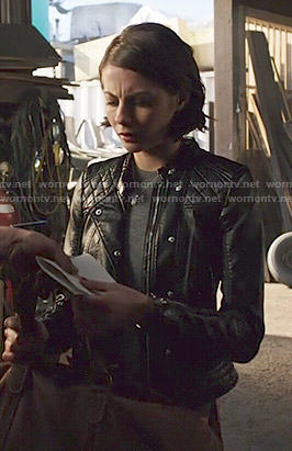 Thea's quilted panel leather jacket on Arrow