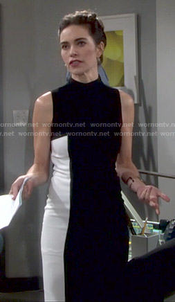Victoria's black and white colorblock dress on The Young and the Restless