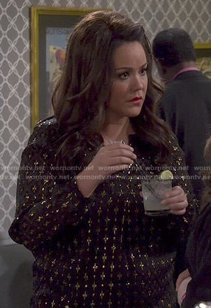 Victoria's black and gold patterned blouse on Mike and Molly