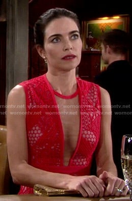 Victoria's red lace overlay dress on The Young and the Restless