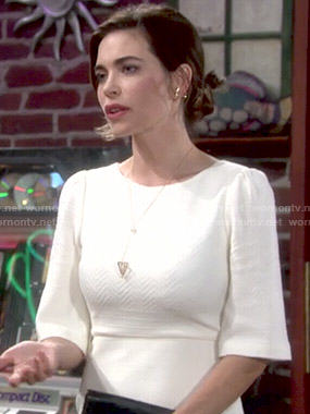 Victoria's white textured dress on The Young and the Restless
