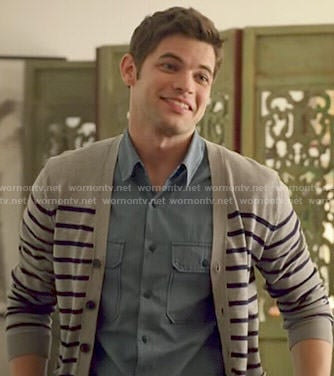 Winn's grey striped cardigan on Supergirl