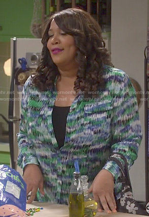 Yolanda's blue and green printed shirt on Young and Hungry