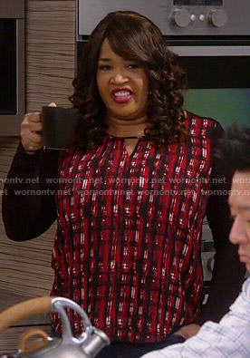 Yolanda's red and black printed top on Young and Hungry