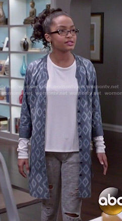 Zoey's chambray ikat print jacket on Black-ish