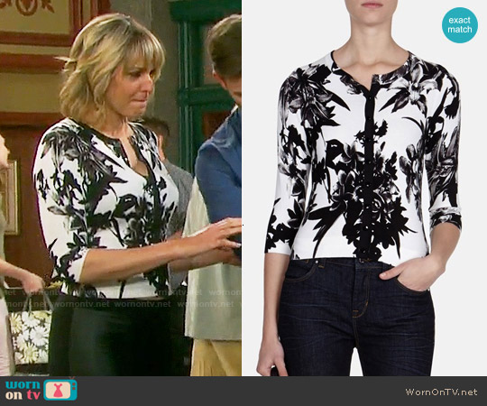Karen Millen Flower Print Cardigan worn by Arianne Zucker on Days of our Lives