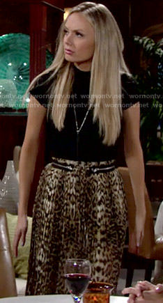 Abby's leopard print maxi skirt on The Young and the Restless