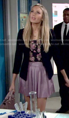Abby's purple pleated leather skirt on The Young and the Restless