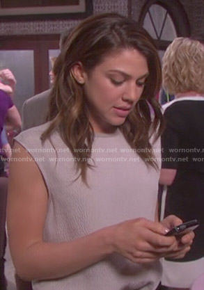 Abigail's sleeveless textured top on Days of Our Lives