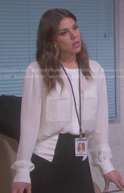 Abigail's white blouse and colorblock pencil skirt on Days of our Lives