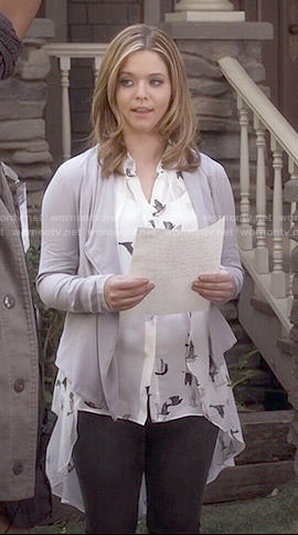 Ali's bird print blouse and grey draped jacket on Pretty Little Liars