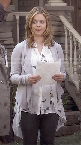 Ali's bird print blouse and grey draped jacket on Pretty Little Liars