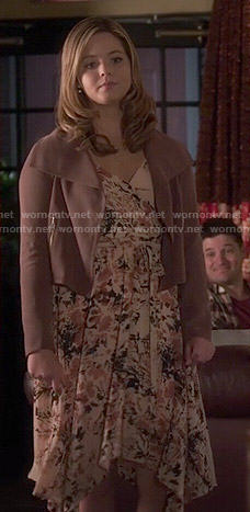 Ali's floral wrap dress and wide collar jacket on Pretty Little Liars