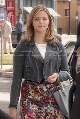Ali's floral dress and cropped denim jacket on Pretty Little Liars