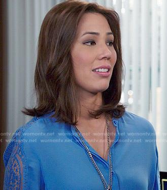 Angela's blue lace sleeve blouse on Bones
