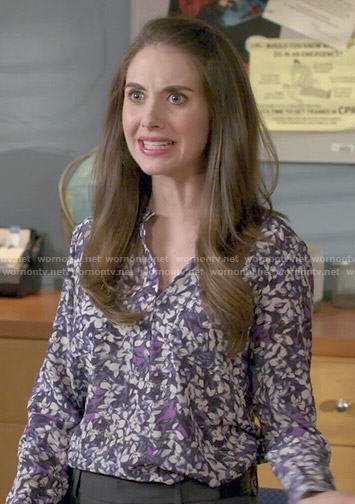 Annie's purple floral blouse on Community
