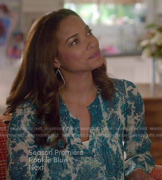 April's blue floral blouse on Mistresses