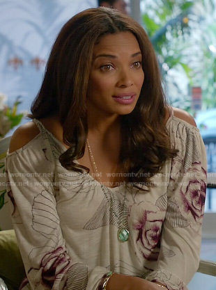 April's floral cold-shoulder top on Mistresses