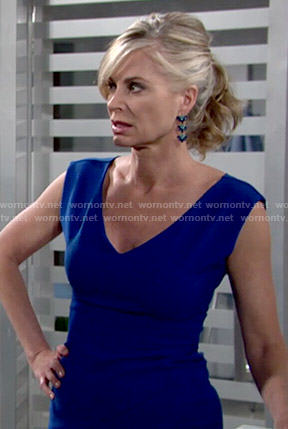 Ashley's blue v-neck dress on The Young and the Restless