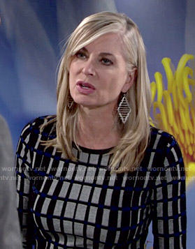 Ashley's grey checked long sleeve dress on The Young and the Restless