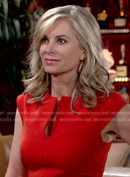 Ashley's red split-neck dress on The Young and the Restless