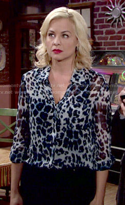 Avery's blue leopard print blouse on The Young and the Restless