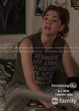 Callie's Art Music Love sleeveless tee on The Fosters