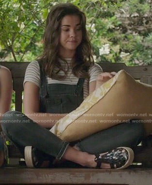 Callie's denim overalls and striped tee on The Fosters