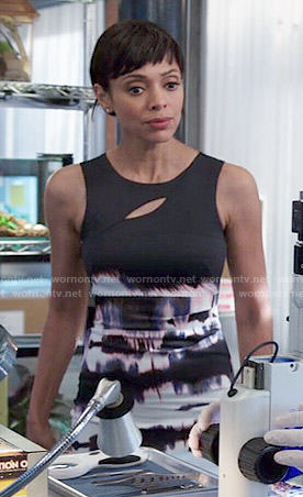 Camille's black tie dye print cutout dress on Bones