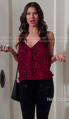 Carmen's red leopard print cami on Devious Maids